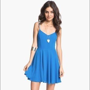 Lush Blue Skater Dress with Cage back, Medium